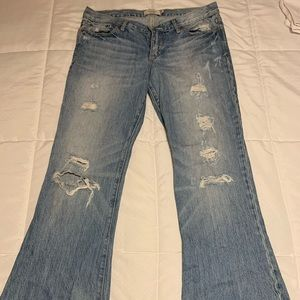 Abercrombie and fitch destroyed denim flare jeans